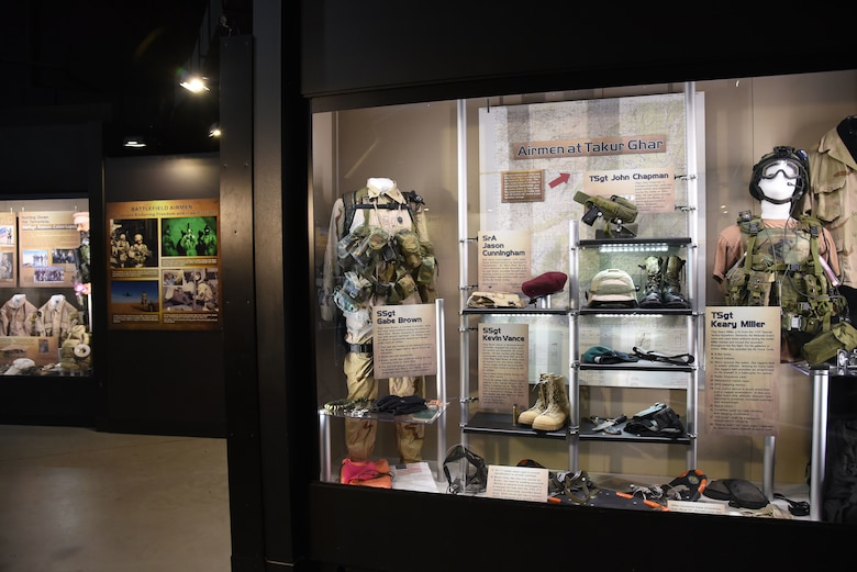 A portion of the Warrior Airmen exhibit, highlighting Airmen at Takur Ghar, on display in the Cold War Gallery at the National Museum of the U.S. Air Force. (U.S. Air Force photo by Ken LaRock)