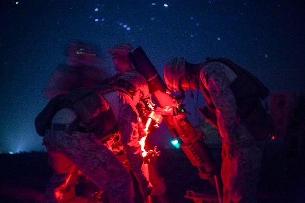 Marines set up a mortar system during a security patrol near Bost Airfield in Helmand province, Afghanistan, Aug. 18, 2018. The Marines, assigned to Task Force Southwest, were assisting Afghan National Defense and Security Forces. Marine Corps photo by Sgt. Sean J. Berry
