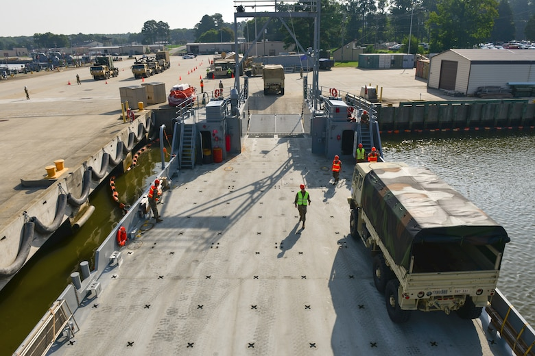 U.S. Army Soldiers assigned to the 597th Transportation Brigade and 7th Trans. Bde. (Expeditionary) conduct a Joint Task Force Port Opening familiarization training at Joint Base Langley-Eustis, Va., Aug. 17, 2018.