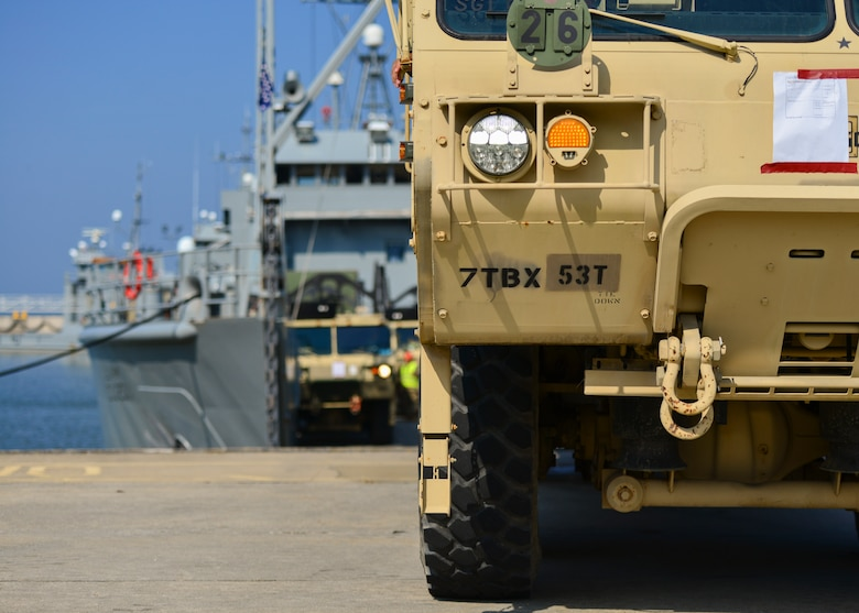 The 597th Transportation Brigade and 7th Trans. Bde. (Expeditionary) conducted a Joint Task Force Port Opening familiarization training at Joint Base Langley-Eustis, Va., Aug. 17, 2018.
