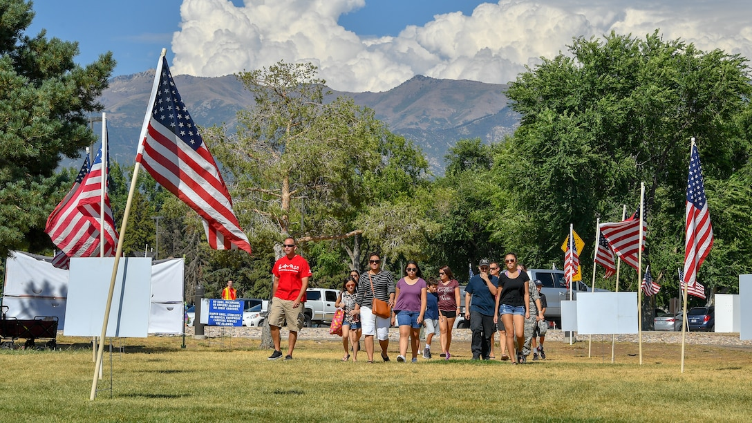 Families gather at Centennial Park for the 18th annual Salute Picnic Aug. 17, 2018, at Hill Air Force Base, Utah. Nearly 3,500 people attended the event sponsored by the Top of Utah Military Affairs Committee. (U.S. Air Force photo by R. Nial Bradshaw)