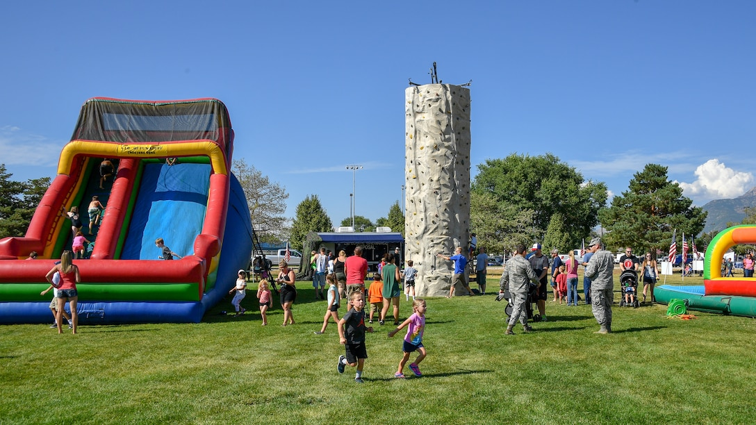 Families attend the 18th annual Salute Picnic Aug. 17, 2018, at Hill Air Force Base, Utah. The event was sponsored by the Top of Utah Military Affairs Committee, a joint committee between the Davis Chamber of Commerce and the Ogden/Weber Chamber of Commerce. (U.S. Air Force photo by R. Nial Bradshaw)