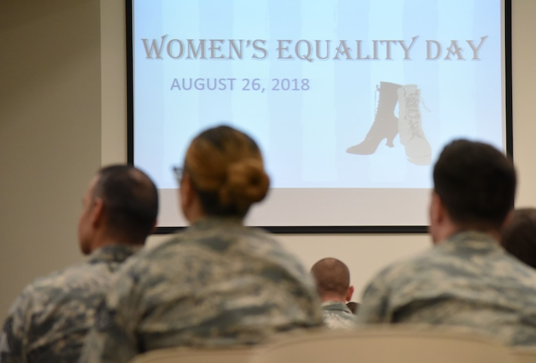 Keesler personnel attend the 81st Training Wing Women's Equality Day Observance at the Roberts Consolidated Aircraft Maintenance Facility at Keesler Air Force Base, Mississippi, Aug. 21, 2018. Women�s Equality Day commemorates the passage of the 19th Amendment to the U.S. Constitution, granting the right for women to vote. The amendment was first introduced in 1878. In 1971, the U.S. Congress designated Aug. 26 as Women�s Equality Day. (U.S. Air Force photo by Kemberly Groue)