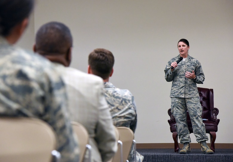 U.S. Air Force Col. Beatrice Dolihite, 81st Medical Group commander, delivers remarks during the 81st Training Wing Women's Equality Day Observance at the Roberts Consolidated Aircraft Maintenance Facility at Keesler Air Force Base, Mississippi, Aug. 21, 2018. Women�s Equality Day commemorates the passage of the 19th Amendment to the U.S. Constitution, granting the right for women to vote. The amendment was first introduced in 1878. (U.S. Air Force photo by Kemberly Groue)