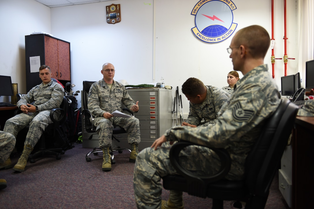 Members of the communication squadron brief each other on safety in the workplace.