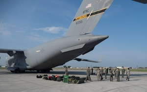 Airmen prepare to load AES patients aboard a C-17 at Minneapolis St. Paul Air Reserve Station for transport to Ft. McCoy, Wis. as part of Exercise Patriot Warrior (Air Force Photo/Paul Zadach)
