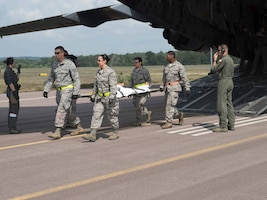 "AES ""patients"" are carried off the C-17 at Fort McCoy to be returned to duty when ready. (Air Force Photo/Paul Zadach)"