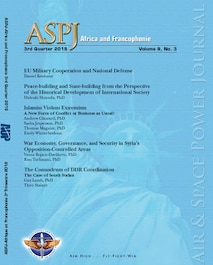 Blue ASPJ Africa & Francophonie cover for 3rd quarter 2018 lists the titles in this issue over a watermarked statue of liberty.