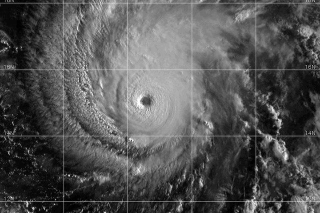 A satellite image of Hurricane Lane.