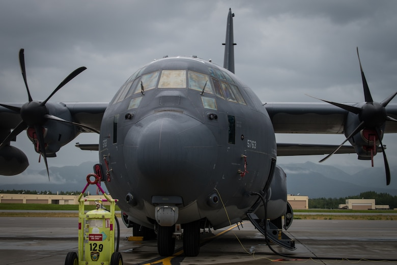 A C-130J Super Hercules from Kadena Air Force Base, Japan, rests on the flightline during Red Flag-Alaska at Joint Base Elmendorf-Richardson, Alaska, Aug. 13, 2018. RF-A is a Pacific Air Forces-directed field training exercise for U.S. and international forces flown under simulated air combat conditions. RF-A exercises are focused on improving the combat readiness of U.S. and international forces and providing training for units preparing for air expeditionary force taskings.