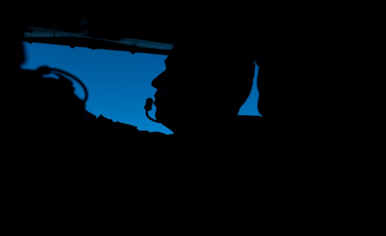 A pilot prepares to land a KC-135 Stratotanker on August 14, 2018 at Alpena Combat Readiness Training Center, Mich.(Photo by Staff Sgt. Kayla White, 157th Air Refueling Wing Public Affairs)
