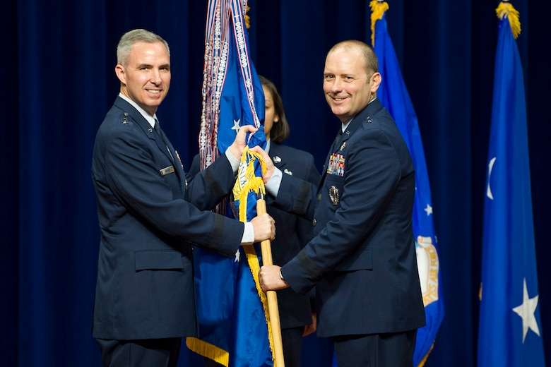 Brig. Gen. Douglas Schiess assumes command of the 45th Space Wing on Aug. 23, 2018. Brig. Gen. Schiess accepted the guidon from Maj. Gen. Stephen Whiting.