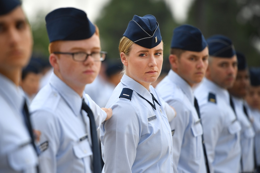 First Lt. Hillary Keltner, 50th Operations Support Squadron staff instructor for space situational awareness, follows a dress right dress command during an open ranks inspection at Schriever Air Force Base, Colo., Aug. 21, 2018. The inspection was the first the squadron held in years. (U.S. Air Force photo by Dennis Rogers)