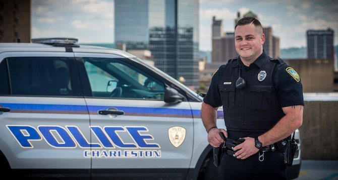 Portrait of Zach Cyrus, a Maintenance Operations Command Airman and Charleston, W.Va. city cop. (West Virginia National Guard Photo by Bo Wriston)