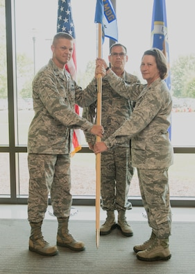 photo of the 192nd Medical Group Detachment 1 assumption of command ceremony.