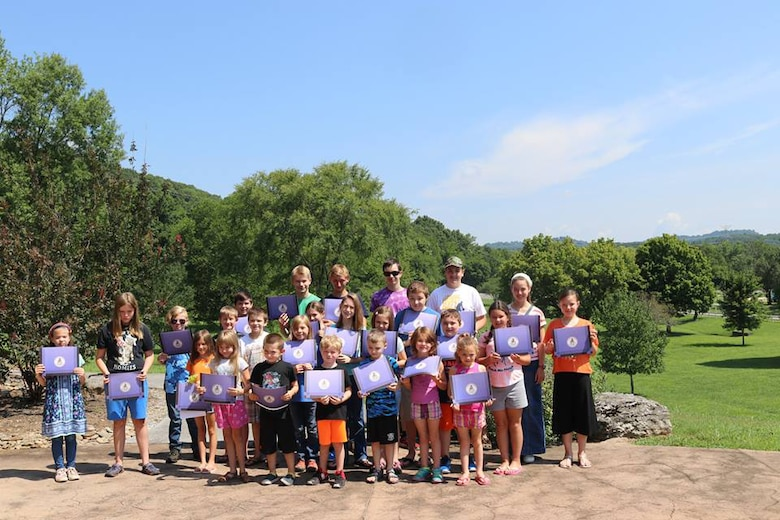 The Cordell Hull Lake Junior Ranger class of 2018 pose with their award certificates July 30, 2018 at Cordell Hull Lake in Carthage, Tenn. (USACE Photo by Ashley Webster)