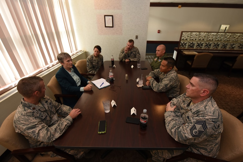Secretary of the Air Force Heather Wilson meets with commanders and senior enlisted leaders during a luncheon at Airey Dining Facility August 20, 2018, on Grand Forks Air Force Base, North Dakota. Some of the topics presented to Wilson from the leaders were about mission struggles and successes. (U.S. Air Force photo by Airman 1st Class Elora J. Martinez)