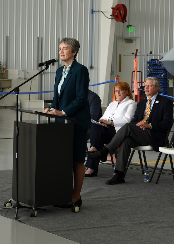 Air Force Secretary Heather Wilson gives a brief to a crowd during the first civil beyond visual line of sight event August 20, 2018 at Grand Sky at Grand Forks Air Force Air Force Base, North Dakota. This recently authorized capability will help to advance the development, testing and evaluation of unmanned aircraft systems applications while also supporting the safe integration of unmanned aircraft into national airspace. (U.S. Air Force photo by Senior Airman Cierra Presentado)