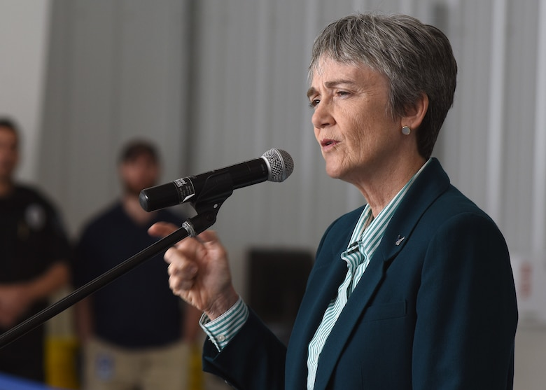Secretary of the Air Force Heather Wilson gives a brief to a crowd during the first civil beyond visual line of sight event August 20, 2018 at Grand Sky at Grand Forks Air Force Air Force Base, North Dakota. Grand Sky is the first commercial unmanned aircraft system-focused research and development park. (U.S. Air Force photo by Senior Airman Cierra Presentado)