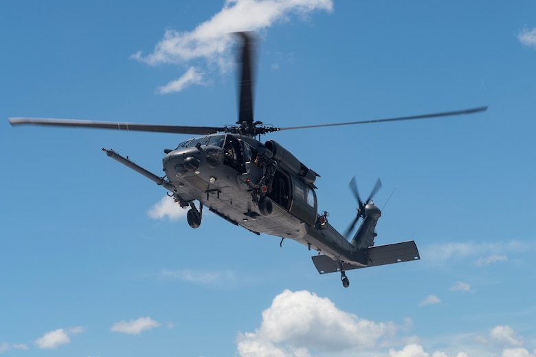 An HH-60G Pave Hawk hovers, Aug. 17, 2018, at Avon Park Air Force Range, Fla. Airmen from the 41st Rescue Squadron and 41st Helicopter Maintenance Unit traveled to Patrick AFB to participate in a spin-up exercise. During the exercise, Airmen faced scenarios and situations they may encounter downrange. (U.S. Air Force photo by Senior Airman Janiqua P. Robinson)