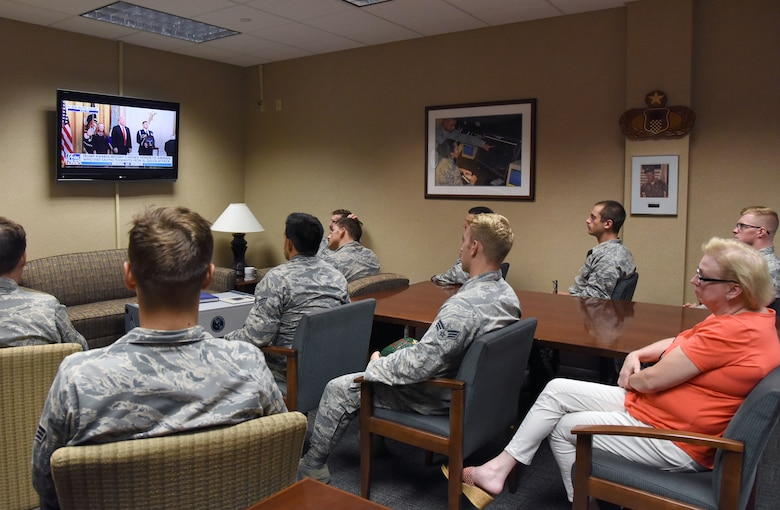Airmen in the 334th Training Squadron watch a televised Medal of Honor presentation at Cody Hall at Keesler Air Force Base, Mississippi, Aug. 23, 2018. Tech. Sgt. John Chapman was posthumously awarded the Medal of Honor, the nation�s highest award for valor in combat, by U.S. President Donald Trump. Chapman was killed in Afghanistan on March 4, 2002. (U.S. Air Force photo by Kemberly Groue)