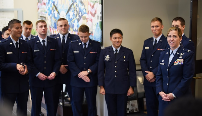Col. Samantha Weeks, 14th Flying Training Wing commander, spoke at Specialized Undergraduate Pilot Training Class 18-13's graduation Aug. 17, 2018, on Columbus Air Force Base, Mississippi. SUPT class 18-13 was the first graduating class under Weeks' command. (U.S. Air Force photo by Airman 1st Class Keith Holcomb)