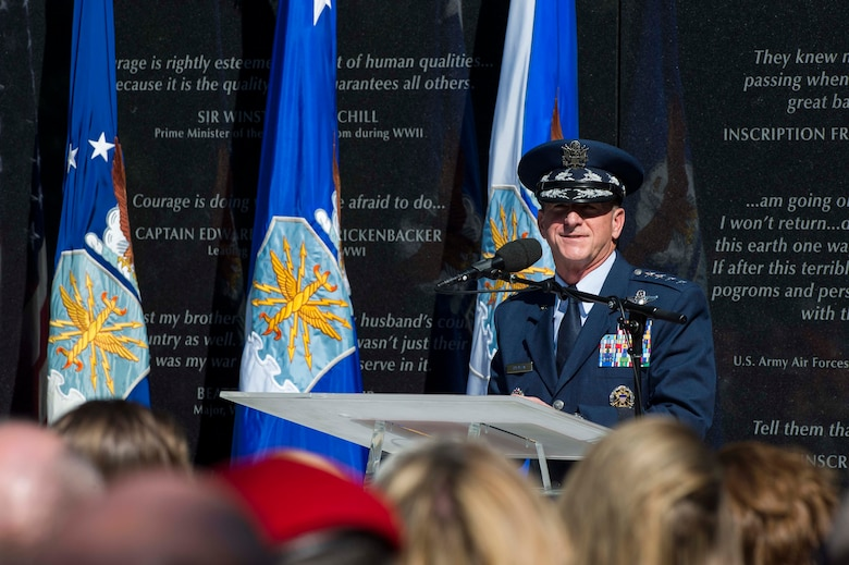 Air Force Chief of Staff Gen. David L. Goldfein speaks during Master Sgt. John Chapman's name unveiling ceremony at the Air Force Memorial in Arlington, Va., Aug. 24, 2018. Chapman was posthumously awarded the Medal of Honor for actions on Takur Ghar Mountain in Afghanistan March 4, 2002. An elite special operations team was ambushed by the enemy and came under heavy fire from multiple directions. Chapman immediately charged an enemy bunker through thigh-deep snow and killed all enemy occupants. Courageously moving from cover to assault a second machine gun bunker, he was injured by enemy fire. Despite severe wounds, he fought relentlessly, sustaining a violent engagement with multiple enemy personnel before making the ultimate sacrifice. With his last actions he saved the lives of his teammates. (U.S. Air Force photo by Tech. Sgt. DeAndre Curtiss)