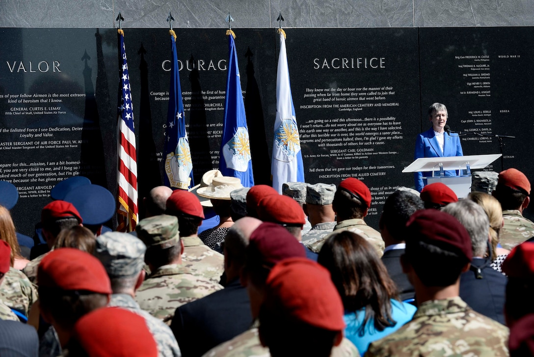 Secretary of the Air Force Heather Wilson speaks at Master. Sgt. John Chapman's name unveiling ceremony at the Air Force Memorial in Arlington, Va., Aug. 24, 2018. Chapman was posthumously awarded the Medal of Honor for actions on Takur Ghar Mountain in Afghanistan March 4, 2002. An elite special operations team was ambushed by the enemy and came under heavy fire from multiple directions. Chapman immediately charged an enemy bunker through thigh-deep snow and killed all enemy occupants. Courageously moving from cover to assault a second machine gun bunker, he was injured by enemy fire. Despite severe wounds, he fought relentlessly, sustaining a violent engagement with multiple enemy personnel before making the ultimate sacrifice. With his last actions he saved the lives of his teammates. (U.S. Air Force photo by Staff Sgt. Chad Trujillo)