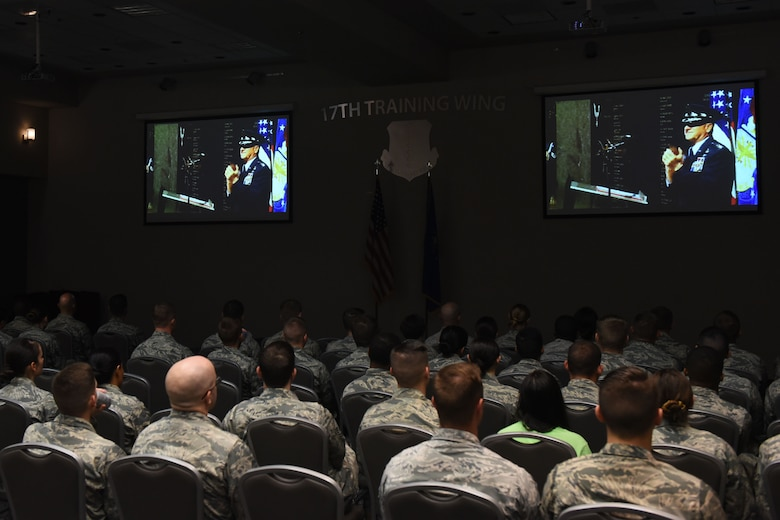 Service members join together to watch the live stream of U.S. Air Force Master Sgt. John Chapman's Air Force Memorial Medal of Honor Unveiling Ceremony at the Event Center on Goodfellow Air Force Base, Texas, Aug. 24, 2018. Chapman is the first Airman to receive the Medal of Honor since the Vietnam War. (U.S. Air Force photo by Airman 1st Class Zachary Chapman/Released)
