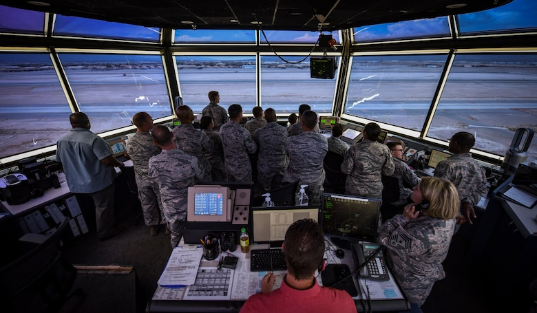 NCOs from units across the U.S. Air Force Warfare Center tour the air traffic control tower at Nellis Air Force Base, Nevada, Aug. 16, 2018. The tour was part of the Warrior Stripe program where technical sergeants toured parts of the base they would not regularly see in their daily job. (U.S. Air Force photo by Airman 1st Class Andrew D. Sarver)
