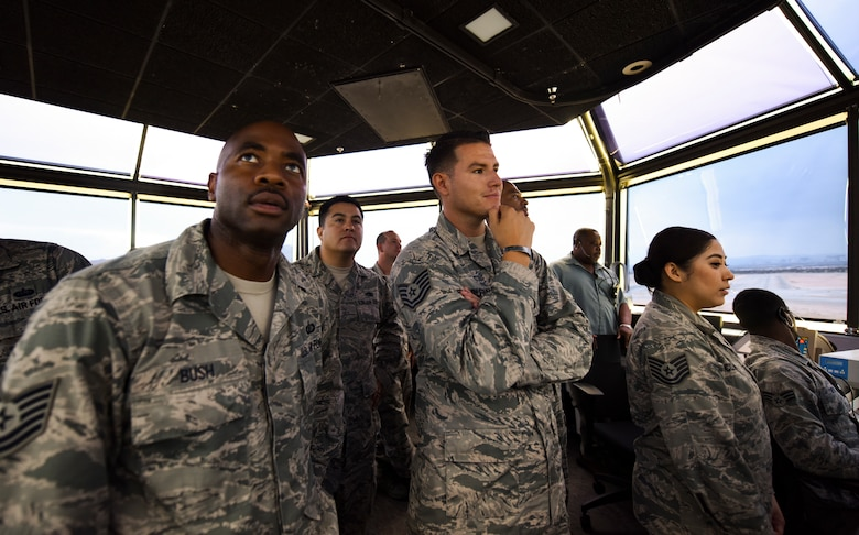 Air Force technical sergeants from units across the U.S. Air Force Warfare Center tour the air traffic control tower at Nellis Air Force Base, Nevada, Aug. 16, 2018. The tour was part of the Warrior Stripe program where technical sergeants toured different parts of the base that they would not regularly see in their daily job. (U.S. Air Force photo by Airman 1st Class Andrew D. Sarver)