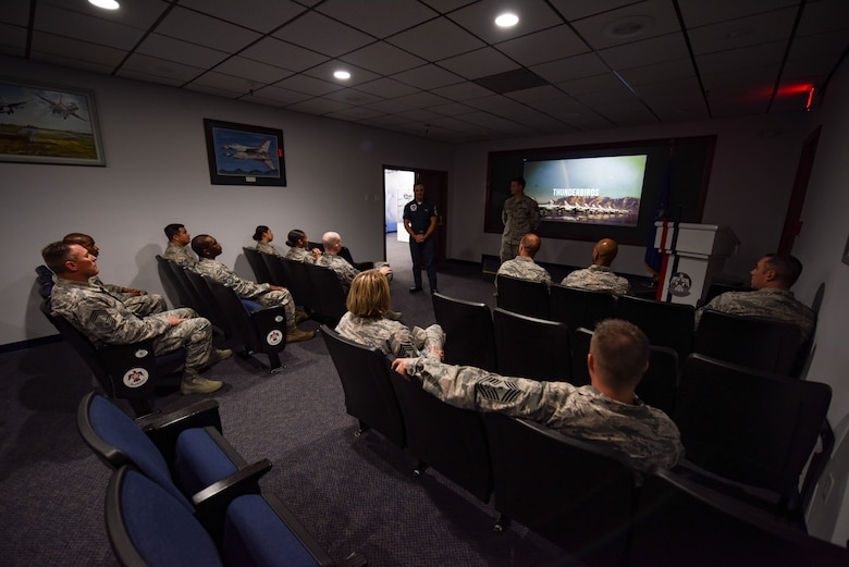 Airmen from units across the U.S. Air Force Warfare Center gather in the Thunderbirds museum at Nellis Air Force Base, Nevada, Aug. 16, 2018. The tour was part of the Warrior Stripe program where technical sergeants toured parts of the base they would not regularly see in their daily job. (U.S. Air Force photo by Airman 1st Class Andrew D. Sarver)