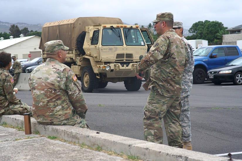 Hawaii Army National Guardsmen and members of the Hawaii Emergency Management Agency stage for recovery operations for Hurricane Lane in Honolulu, Aug. 24, 2018. Hurricane Lane hammered Hawaii's Big Island with 130 mph winds and three feet of rain Aug. 23, but on Aug. 25 the once-mighty Category 4 hurricane has been downgraded to a much-tamer tropical storm with 65 mph winds. Air National Guard photo by Air Force Tech. Sgt. Andrew Jackson