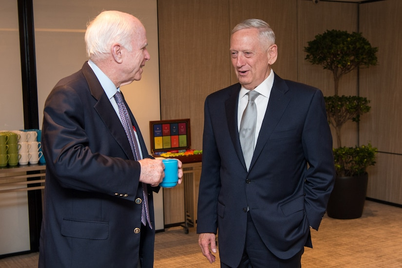 Defense Secretary James N. Mattis meets with Sen. John McCain.