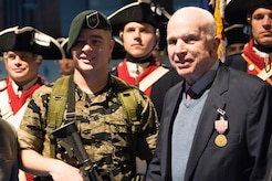 The Army honored Sen. John S. McCain for his over 63 years of dedicated service to the nation and the U.S. military during a ceremony in Conmy Hall, Joint Base Myer-Henderson Hall, Va., Nov. 14, 2017. Army photo by Pfc. Gabriel Silva