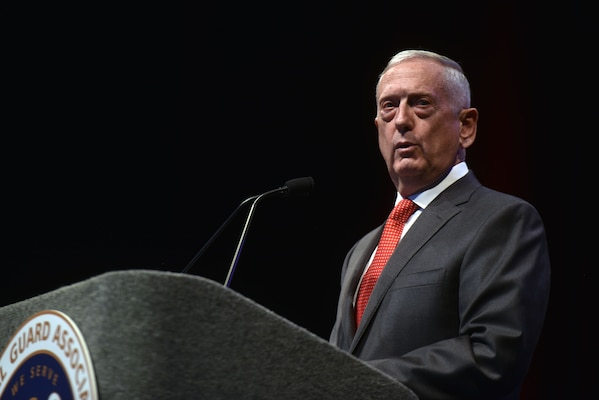 Secretary of Defense James Mattis addresses National Guard leaders at the National Guard Association of the United States 140th General Conference, New Orleans, Louisiana, Aug. 25, 2018.