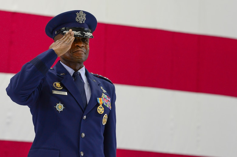 U.S. Air Force Gen. Darren W. McDew renders a final salute to members of U.S. Transportation Command during a change of command ceremony at Scott Air Force Base, Illinois, Aug. 24, 2018.