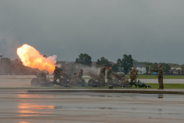 U.S. Army soldiers from the Maneuver Support Center of Excellence, Fort Leonard Wood, Missouri, fire a 17-volley cannon salute to honor outgoing commander U.S. Air Force Gen. Darren W. McDew during the U.S. Transportation Command change of command ceremony, Aug. 24, 2018, at Scott Air Force Base, Illinois.