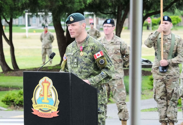 Canadian Brig. Gen. Dany Fortin the outgoing I Corps deputy commanding general for operations addresses the audience during a Courage Honors Ceremony on Joint Base Lewis-McChord, Washington June 13, 2017. Fortin was recognized during the farewell ceremony for his contributions to I Corps mission and awarded the Legion of Merit for his service.  (U.S. Army photo by Sgt. Youtoy Martin, 5th Mobile Public Affairs Detachment)