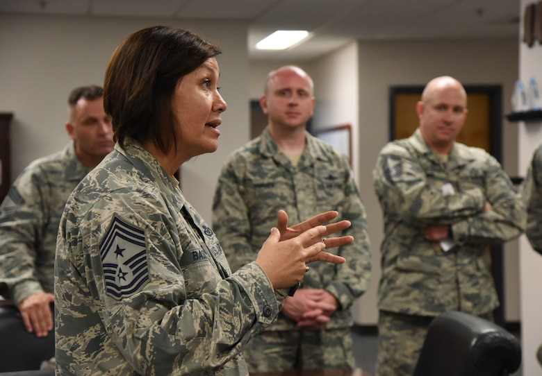 Chief Master Sgt. JoAnne Bass, 2nd Air Force command chief, speaks to 81st Training Group personnel during an immersion tour at the Levitow Training Support Facility on Keesler Air Force Base, Mississippi, Aug. 23, 2018. The purpose of the tour was to become more familiar with Keesler's mission. (U.S. Air Force photo by Kemberly Groue)