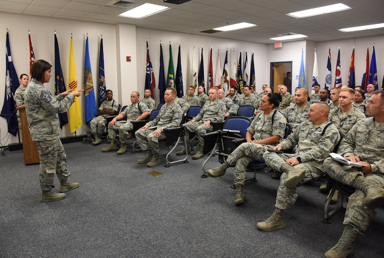 Chief Master Sgt. JoAnne Bass, 2nd Air Force command chief, speaks to 81st Training Group instructors and military training leaders during an immersion tour at the Levitow Training Support Facility on Keesler Air Force Base, Mississippi, Aug. 23, 2018. The purpose of the tour was to become more familiar with Keesler's mission. (U.S. Air Force photo by Kemberly Groue)