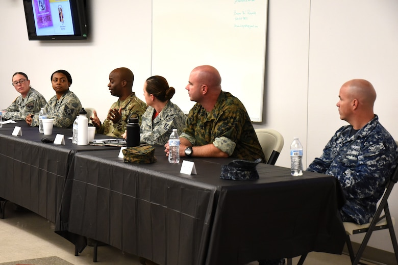 A leadership panel of service members from Goodfellow answer questions about their careers and the changes they have seen in the attitudes toward women over the years at the Women's Equality Day event at Taylor Chapel on Goodfellow Air Force Base, Texas, Aug. 24, 2018. The panel was asked a variety of prepared questions along with any the audience had about careers and the changes in the service toward women and their opportunities in the military. (U.S. Air Force photo by Airman 1st Class Seraiah Hines/Released)