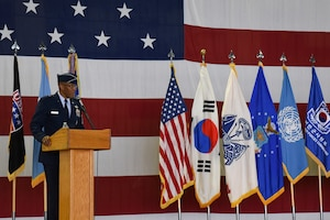 Gen. CQ Brown, Jr., Commander, Pacific Air Forces, gives his opening remarks during the Seventh Air Force Change of Command Ceremony at Osan Air Base, Republic of Korea Aug. 27, 2018. During the ceremony Brown bid farewell to Lt. Gen. Thomas W. Bergeson and welcomed Lt. Gen. Kenneth S. Wilsbach to the ROK.  (U.S. Photo by Senior Airman Savannah L. Waters)