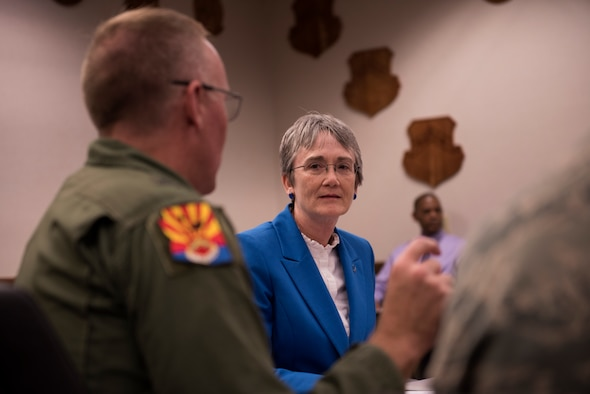 Secretary of the Air Force, Heather Wilson, receives a mission brief from Brig. Gen. Todd Canterbury, 56th Fighter Wing commander Aug. 24, 2018, at Luke Air Force Base, Ariz. Wilson visited the base to meet with Thunderbolts and familiarize herself with the wing's F-35A training mission. (U.S. Air Force photo by Senior Airman Ridge Shan)