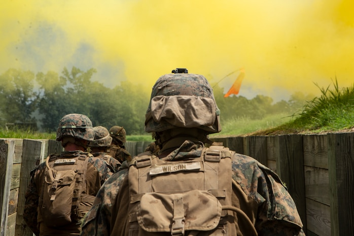 U.S. Marines with Company A., 2nd Light Armored Reconnaissance Battalion, 2nd Marine Division clear a trench during an Infantry Platoon Battle Course as part of a Deployment for Training exercise at Fort Pickett, Va., Aug. 22, 2018. The unit completed IPBC to increase Light Armored Vehicle crew and scout cohesion, while also preparing for potential real-world contingencies.
