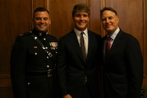 INDIANAPOLIS - On August 25, 2018, Senator Evan Bayh's son, Beau Bayh (center), took his oath to join the ranks of the world's finest fighting force in Indianapolis. Bayh will now proceed to OCS to earn his commission as an officer in the U.S. Marine Corps.