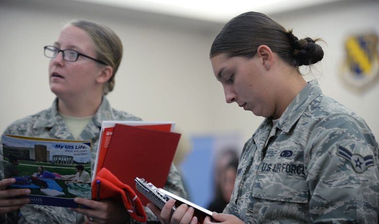 Airmen from Scott Air Force Base were given the chance to compare degrees, classes, and other educational opportunities offered to assist military members in advancing their education, Aug. 16, 2018 at Scott Air Force Base, Ill. The fair featured military friendly schools from all over the Illinois and Missouri area as well as online universities.