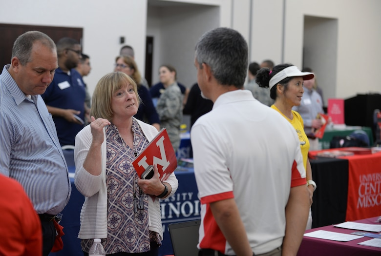 The 375th Force Support Squadron hosted an Education Fair on Aug 16, 2018 at the Scott Air Force Base Event Center at Scott AFB, Ill. The Education Fair was held to give service members and their families a chance to compare educational opportunities provided by military friendly schools and academic support agencies.