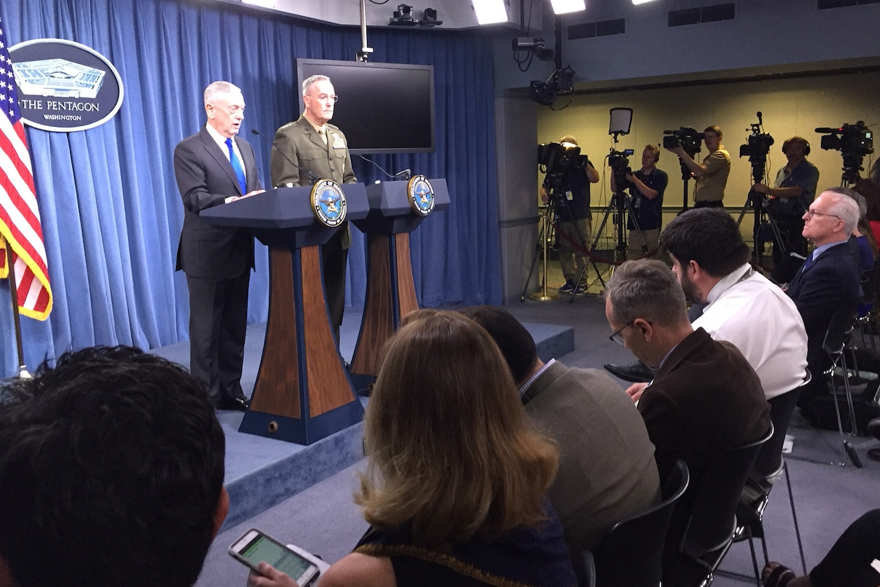 Defense Secretary James N. Mattis and Marine Corps Gen. Joe Dunford, chairman of the Joint Chiefs of Staff, brief reporters on U.S. military strategy and current operations.