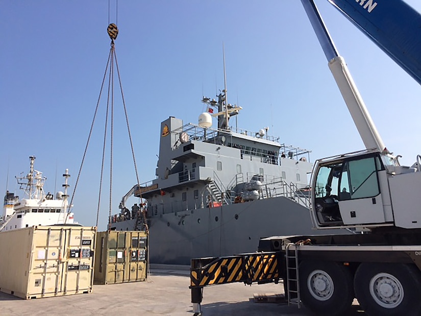 DLA Distribution Bahrain participates in the container upload for the Army Watercraft test from Mina Salman Pier Bahrain to DLA Disposition Services Kuwait.
